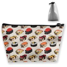 収納ポーチ 寿司パグ 化粧ポーチ トラベルポーチ 小物入れ 小財布 防水 大容量 旅行 おしゃれ