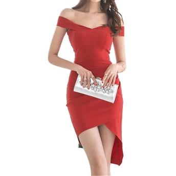 ファッションドレス 快適な女性オフショルダースリムペンシルドレスボディコン不規則なドレスクラブカクテルタイトショートミニチュニックワンピースウエディングイブニングフォーマルパーティードレス (色 : 赤, サイズ : XL)
