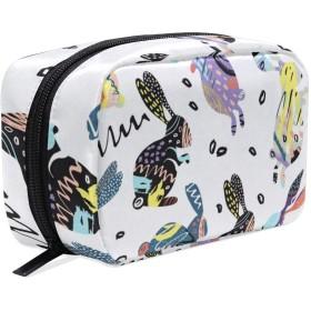 カラフルのウサギ 化粧ポーチ メイクポーチ 機能的 大容量 化粧品収納 小物入れ 普段使い 出張 旅行 メイク ブラシ バッグ 化粧バッグ