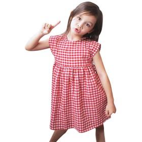 洋子ちゃん 女の子 ワンピース 夏服 子供用 ノースリーブ チェック柄 ワンピース 夏 ドレス90CM-100CM-110CM-120CM-130CM(12ヶ月-5歳)