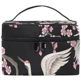 メイクポーチ 日本の鶴桜 化粧ポーチ 化粧箱 バニティポーチ コスメポーチ 化粧品 収納 雑貨 小物入れ 女性 超軽量 機能的 大容量