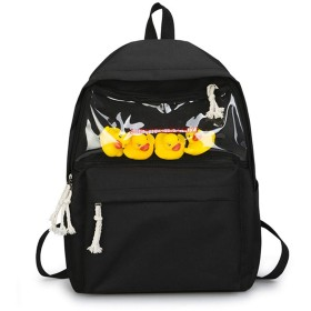 Ladyfocuss 女の子かわいいバックパック軽量大容量リュックサックミニアヒルスクールバッグ (色 : 黒)