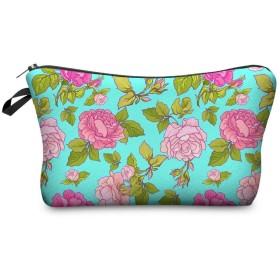 ジッパー旅行女性の袋の女性化粧品袋が付いている多色パターン構造の袋が付いている花3Dの印刷 (Color : Bpd45058)
