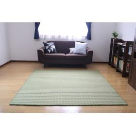 ラグ カーペット 綿100% 185×185cm キルティングラグ 洗える 2畳 カーペット ラグマット 洗える 絨毯 じゅうたん オールシーズン (Mサイズ・グリーン)