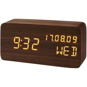モダンデコ 置き時計 置時計 デジタル おしゃれ 北欧 木目調 (ブラウン)