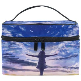 Anmumi 化粧ポーチ メイク ポーチ ボックス 収納ケース 仕切り アニメ 女の子 後ろ姿 空 手提げ 大容量 かわいい おしゃれ レディース 女の子 小物入れ 旅行 出張 プレゼント