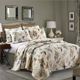 gardenlightess ベッドスプレッド キルト ベッドカバー おしゃれ 2点セット北欧 綿100% 鳥柄