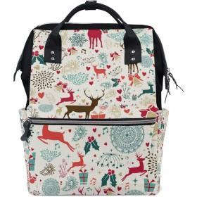 ママバッグ マザーズバッグ リュックサック ハンドバッグ 旅行用 クリスマス 鹿柄 カラー ファション