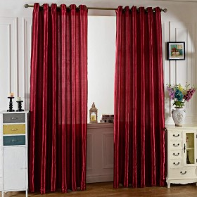 100 x 250CM Pure Color Grommet Ring Top Blackout Window Curtain Bedroom Living Room Home Accessory (WINE RED)