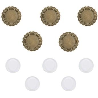 PandaHall 25mm クリア ガラス カボション と ミール皿 ブローチ 5セット 円形 丸皿 合金 台座 アンティーク 金古美