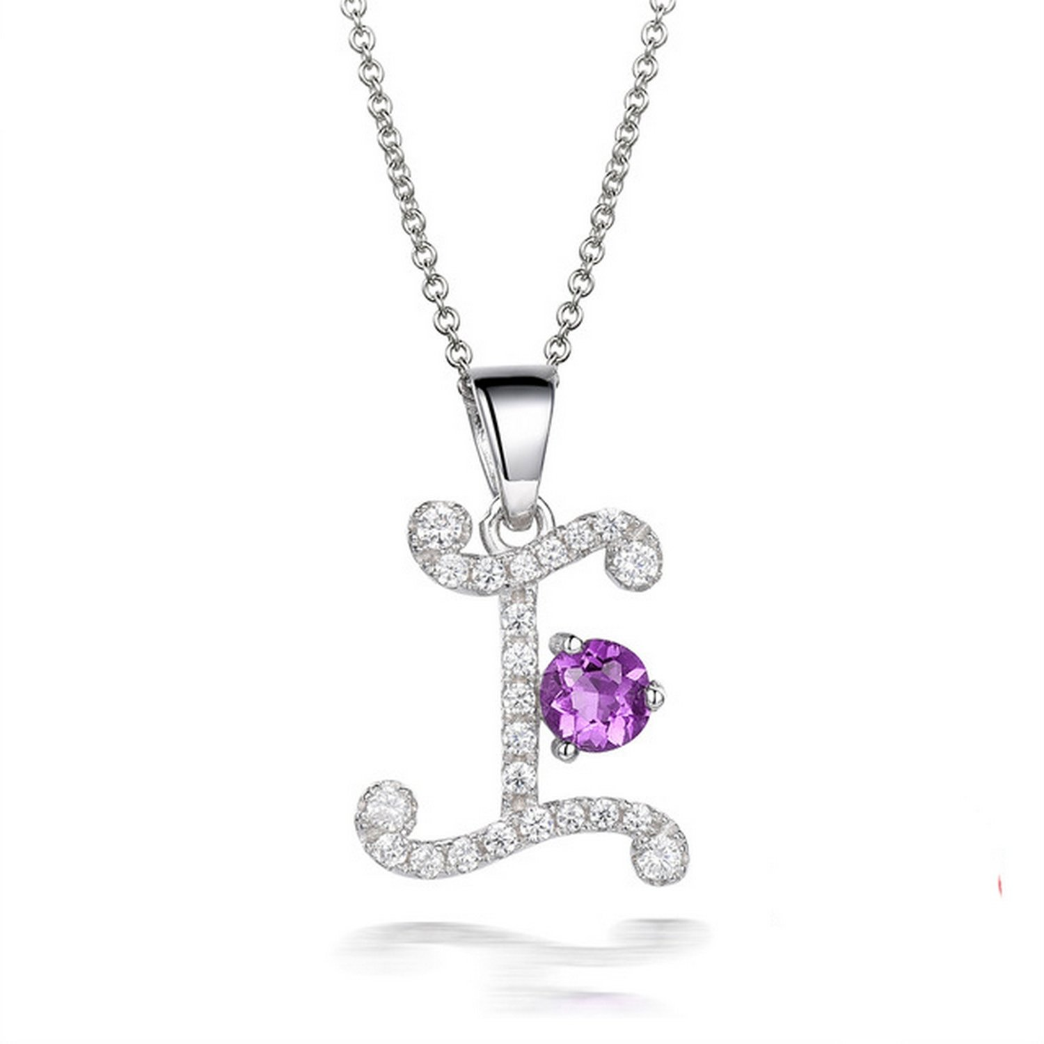 CS-DB Jewelry Silver Pearl Purple gem Chain Charm Pendants Necklaces