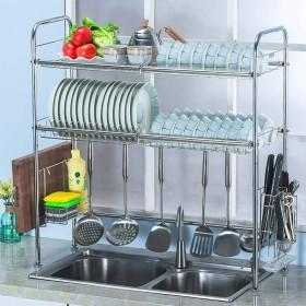 食器乾燥ラック シンク上ディスプレイスタンド 水切り ステンレススチール キッチン用品 収納棚 キッチン用品 ストレージラックステンレススチール (Size : 818328cm)