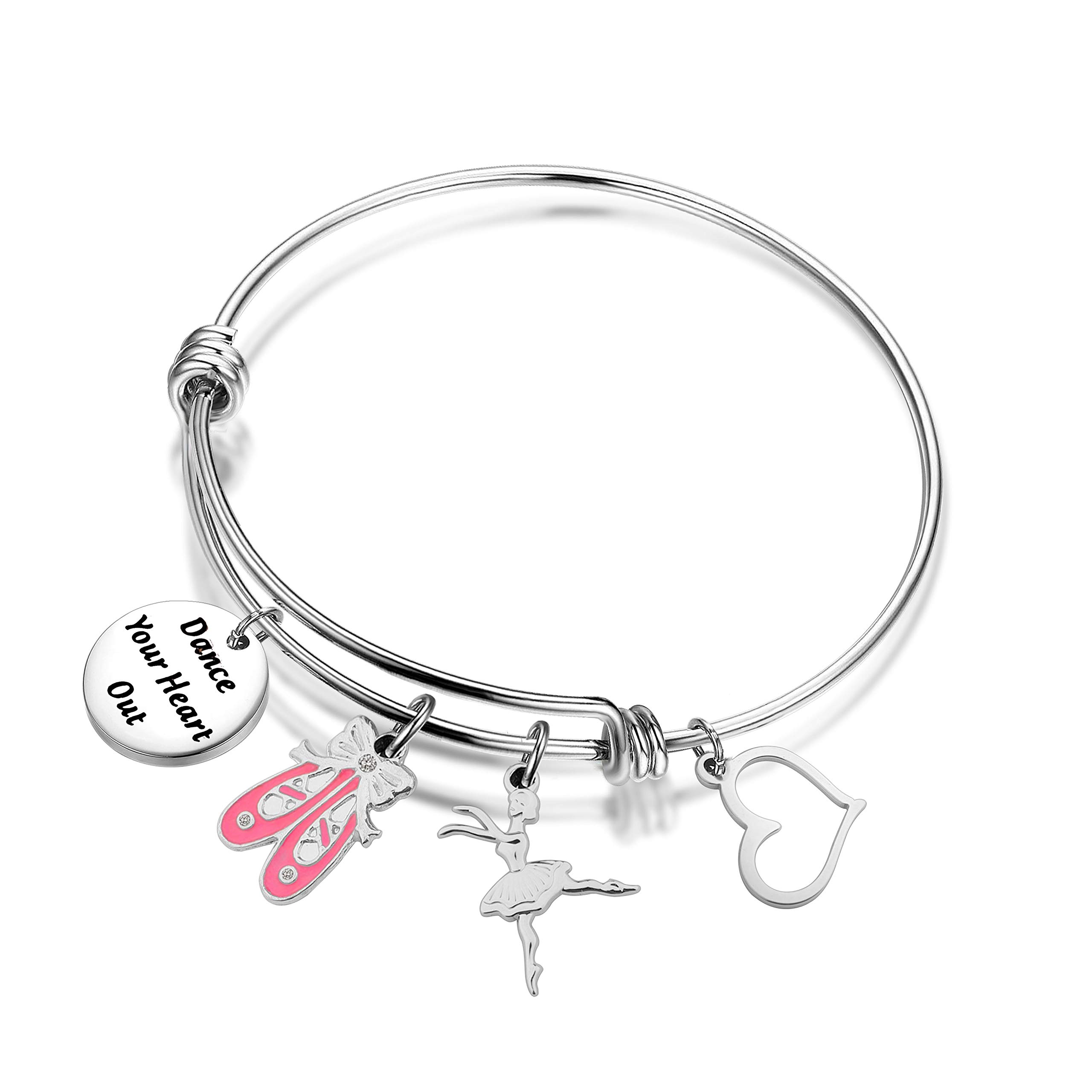 I Hope You Dance Sterling Plated Round Pendant Bracelet Inspirational Gift