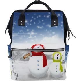 LALATOP クリスマス雪だるま プリント おむつ バックパック 旅行用 ママおむつバッグ 大容量 多機能 スタイリッシュ 耐久性 看護バッグ Lサイズ マルチカラー