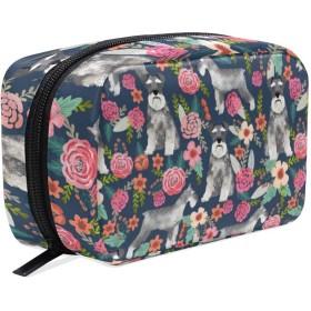 犬 花柄 化粧ポーチ メイクポーチ 機能的 大容量 化粧品収納 小物入れ 普段使い 出張 旅行 メイク ブラシ バッグ 化粧バッグ