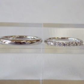 結婚指輪セット Pt900 甲丸リング・Pt950 エタニティリング 0.2ct