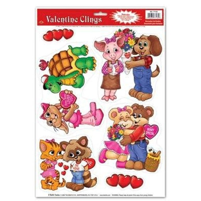 Cuddly Critter Valentine Window Clings 77135PK96
