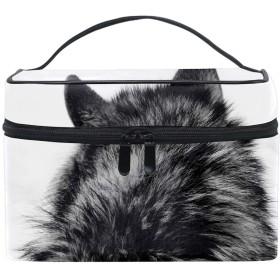 狼トイレタリーバッグ トラベルポーチ 洗面用具入れ 化粧ポーチ バスルームポーチ マジックテープ フック付き