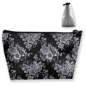 ブラック バラ 化粧ポーチ メイクポーチ コスメポーチ 化粧品収納 ミニ 財布 小物入れ 軽い 軽量 防水 旅行も携帯便利 多機能 バッグ 小さな化粧品の袋