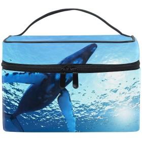 収納バッグ 化粧ポーチ レディース 多機能 大容量 防水ホエールブルー