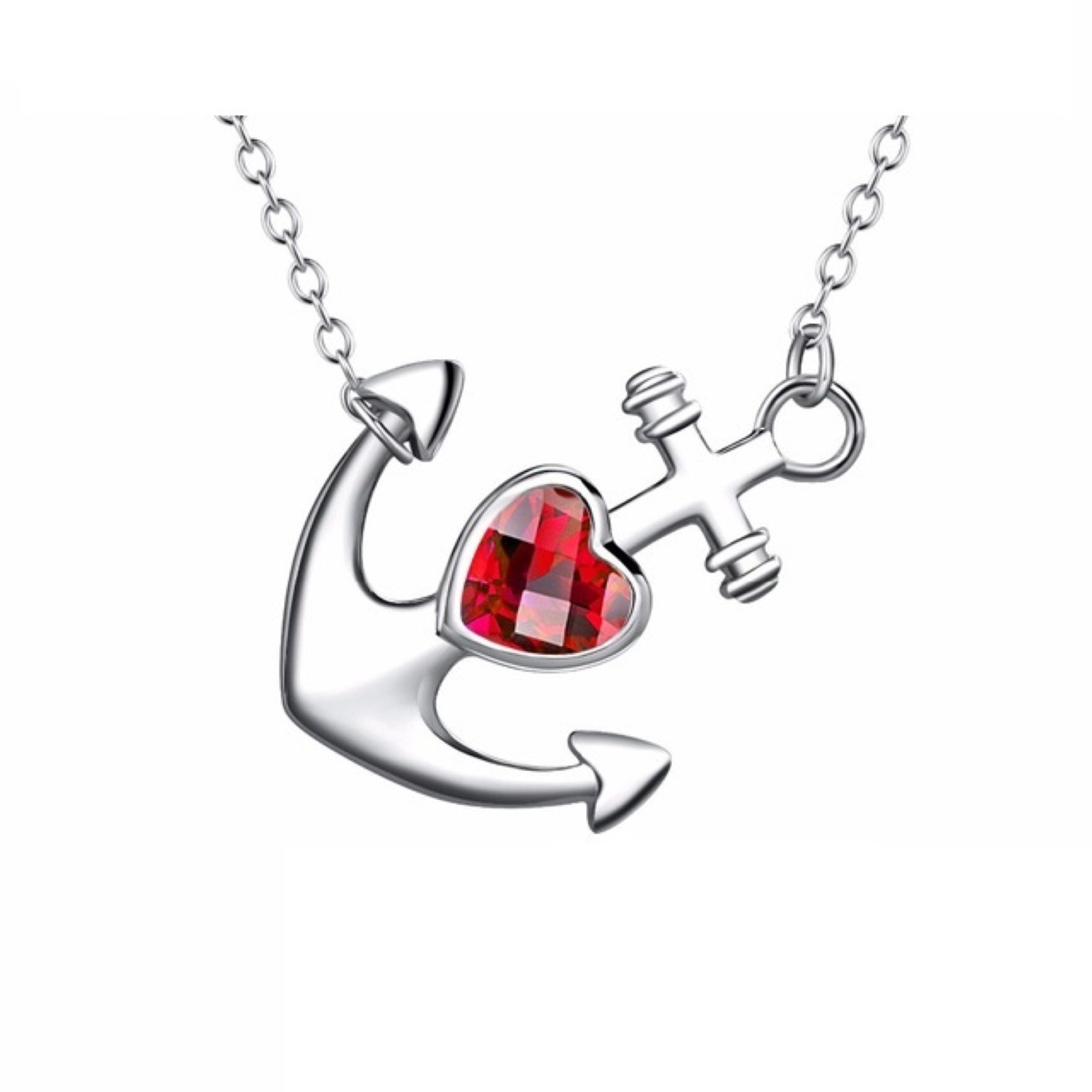CS-DB Womens Necklaces by Silver Pendant Anchor Classic Anchor Silver Pendant Color Charm Girls