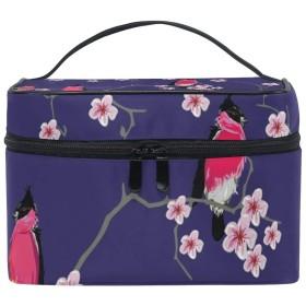 ユキオ(UKIO) メイクポーチ 大容量 シンプル かわいい 持ち運び 旅行 化粧ポーチ コスメバッグ 化粧品 鳥 梅の木 レディース 収納ケース ポーチ 収納ボックス 化粧箱 メイクバッグ