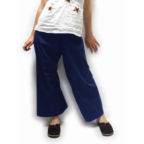 PT13NAVY_全6色 やわらかコットン タイパンツ Mサイズ フィッシャーマンパンツ ヨガパンツ レディース