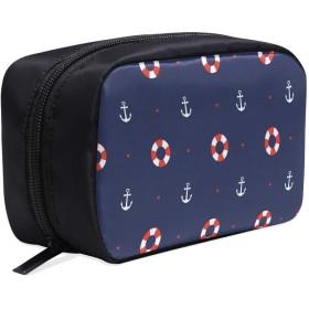 GGSXD メイクポーチ 海 アンカー ボックス コスメ収納 化粧品収納ケース 大容量 収納 化粧品入れ 化粧バッグ 旅行用 メイクブラシバッグ 化粧箱 持ち運び便利 プロ用