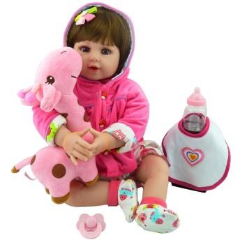NanNanLiu 22inch シリコンリアルドールよだれかけ漫画 Onesies フード付きのコートヘアクリップ鹿幼児子供の赤ちゃんのおもちゃ