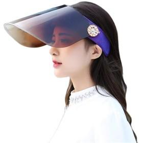 [リングルー] サンバイザー 日避け帽子 日焼け防止 UVカット 帽子 自転車 キャップ 男女兼用 日焼け ワイド 帽子 フルフェイス 紫外線対策 通学 通勤 旅行用 超軽量 360°可動式 帽子 パープル F