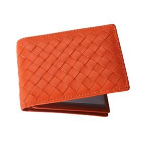 Gewaha 定期入れ カードケース 本革 カード入れ 名刺 ICカード 免許証 クレジットカード入れ パスケース 財布型 磁気消え防止 カードポケット 高級レザー 全8色 (Orange)