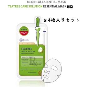 MEDI HEAL☆Teatree Care Solution essential mask REX(4pcs)☆ メディヒール ティーツリーケア ソルーション エッセンシャルマスクREX(4枚入り) [並行輸入品]
