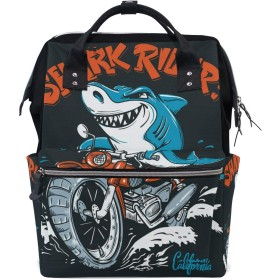 ママリュック サメ ドライバ— かっこいい ミイラバッグ デイパック レディース 大容量 多機能 旅行用 看護バッグ 耐久性 防水 収納 調整可能 リュックサック 男女兼用