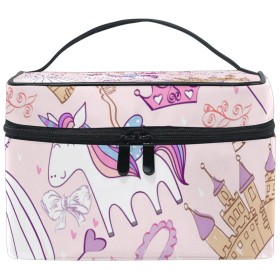 Natax 化粧ポーチ 大容量 かわいい おしゃれ 機能的 バニティポーチ 収納ケース ポーチ メイクポーチ ボックス 小物入れ 仕切り 旅行 出張 持ち運び便利 コンパクトユニコーン ピンク