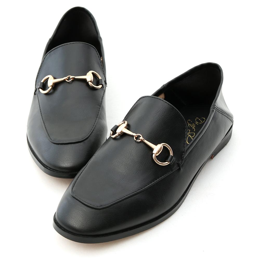 D+AF 上質品味 馬銜釦後踩式二穿紳士便鞋  黑