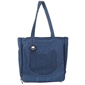 Moecat 痛バッグ トートバッグ 透明窓 両面 大容量 かわいい 猫 デニム キャンバス 肉球ストラップ付き (ブルー)