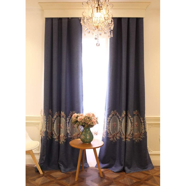 欧式姫系 アンティーク 宮廷刺繍模様 ゴージャス バラ刺繍 カーテン 遮光カーテン インテリア 布タイプ