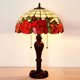 ティファニースタイルテーブルランプ/電気スタンドステンドグラス赤ローズデザイン電気スタンド、現代寝室のベッドサイド16インチ装飾ライト/ベ