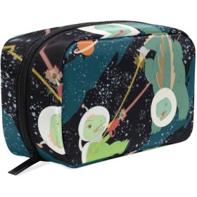 恐竜戦闘 漫画 化粧ポーチ メイクポーチ 機能的 大容量 化粧品収納 小物入れ 普段使い 出張 旅行 メイク ブラシ バッグ 化粧バッグ
