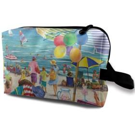 海岸 ビーチ カラフルな図案 夏休み 化粧バッグ 収納袋 女大容量 化粧品クラッチバッグ 収納 軽量 ウィンドジップ