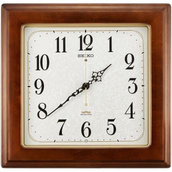 セイコー クロック 掛け時計 電波 アナログ 四角型 木枠 茶 木地 KS298B SEIKO
