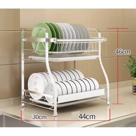 水切りラック 皿が付いている皿の水切り器、ステンレス鋼2層の皿の水切り器は乾燥の棚の台所貯蔵の棚44  30  46cmを料理します (Color : White)