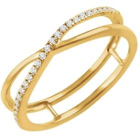 Jewels By Lux レディース 14Kイエローゴールド1/10 CTWダイヤモンド十字リングサイズ7