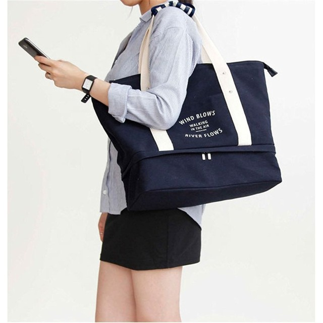 OYAN キャンバスバッグ, トートバッグ,大容量 手提げバッグ,多機能旅行バッグ 靴収納バッグ (ブルー)