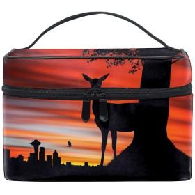 ユニーク Deer Under Sunset Sky おしゃれな メイクアップバッグ メイク道具 小物 お財布 化粧品 軽く 化粧ポーチ