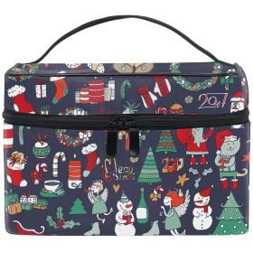 メイクポーチ ボックス 小物入れ 仕切り 旅行 出張 持ち運び便利 コンパクトシンプルな手描き落書きのクリスマスセット