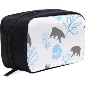 CFHYJ メイクポーチ かわいい動物のイラストレーション ボックス コスメ収納 化粧品収納ケース 大容量 収納 化粧品入れ 化粧バッグ 旅行用 メイクブラシバッグ 化粧箱 持ち運び便利 プロ用