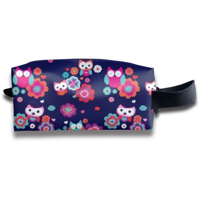 フクロウと夏のブロッサム 化粧ポーチ メイクポーチ ミニ 財布 機能的 大容量 アイシャドー 化粧品収納 小物入れ 普段使い 出張 旅行 メイク ブラシ バッグ ポータブル 化粧バッグ