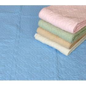 両面使用できます 綿100% 水洗いキルト敷パット セミダブルサイズ (ブルー)