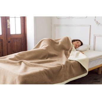 セミダブル (洗える無染色カシミヤ ホワイトカシミヤ使用掛け毛布)ホワイトXブラウン